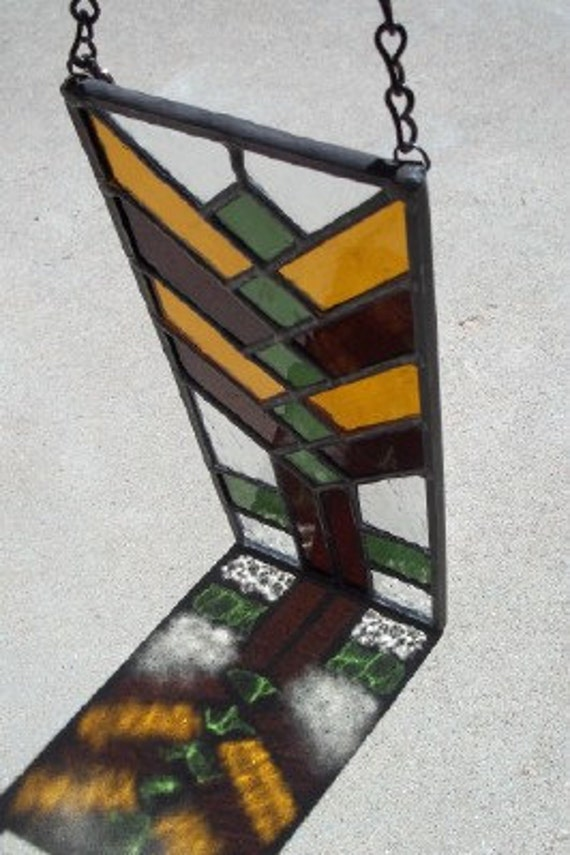 Stained Glass Narrow Wheat Small Stained Glass Window Panel