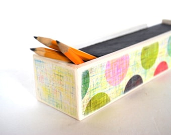 Large Polka Dot Pencil Box, Pencil Case, craft supplies, Storage, Teacher, Student, Desk Organizer, Organization, Kids, Children