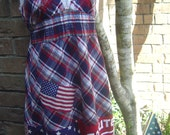 Patriotic Upcycled - Labor Day/Memorial Day/4th of July - Tattered Halter Dress-Red, White, Blue, Flags, Patriotic
