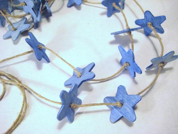 Wooden Star Banner / Garland / Handpainted Blue Stars / Star Ornaments / Blue Sky