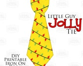 1 Little Guy Jolly Tie Red and Green Christmas Lights Printable Iron On Tie Decal, baby tie, boy Christmas Iron on tie for onesies shirts
