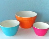 Vintage Melamine Mixing Bowls in Orange, Pink and Teal