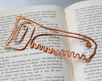 hand saw copper bookmark in salvaged copper hand formed hand hammered