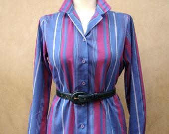 Vintage 80s Cheryl Tiegs Striped Blouse SMALL/MEDIUM