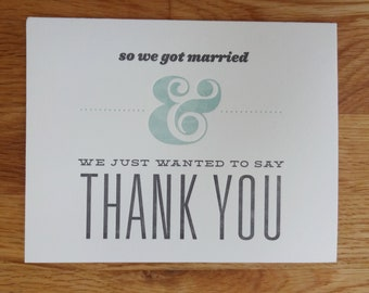 50 Letterpress Printed Wedding Thank-You Cards