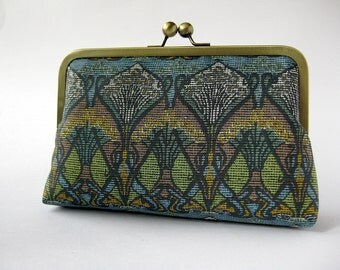 SALE Art Nouveau Ikat Liberty of London Print clutch in Silk lining / wedding / party/ evening clutch / by Bag Noir
