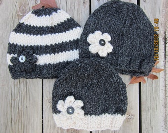 Chunky Knit Flower Hat