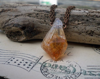 citrine pendant / raw gemstone necklace / raw stone / RAW CITRINE DANGLER