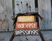 Primitive Autumn harvest Blessings MINI STACKER Wood block set  fall autumn pumpkin home seasonal decor