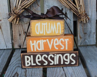 Primitive Autumn harvest Blessings STACKER Wood block set  fall autumn pumpkin home seasonal decor