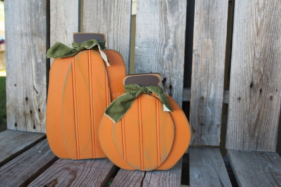 Primitive Pumpkin Block  Autumn Fall Halloween Thanksgiving Wood Block Sets Gift Home Seasonal Decor