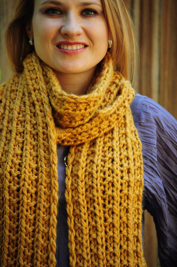 Reserved for Sam K. - Yellow Long & Chunky Fall Hand Knitted Scarf, Ready to Ship