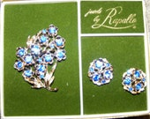 Rapallo Forget-me-Not brooch and earring set
