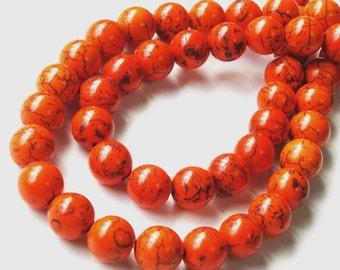 """Orange Beads - Orange Gemstone Round Beads - Howlite Turquoise With Brown Veins - Dark Matrix Stone - 10mm - 16"""" Strand - Jewelry Making"""