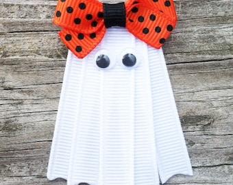 Ghost Hair Clip, Halloween Hair Clip, White Ghost Ribbon Hair Clip, Fall Hair Clip, Girls Hair Bows, White Ghost with Orange Bow Hair Clip
