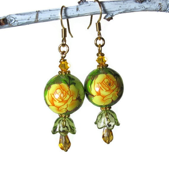 Yellow Rose Earrings, Floral Earrings, Vintage Inspired Jewelry
