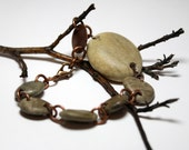 Earthy Stone Jewelry Bracelet- Genuine Drilled Riverstone Pebble Beaded Jewellery- Authentic Collection by Allybeans