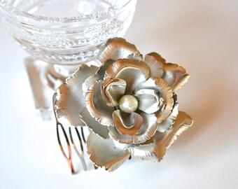 Bridal Rose Comb, Simple Wedding Comb, Bridal Hair Comb, Silver Rose Headpiece, Bridal Headpiece, Wedding Headpiece