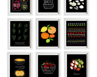 "Black Prints Your Choice 2 Print Set - 11""x15"" - Food Art - Kitchen Wall Decor - archival fine art giclée prints"