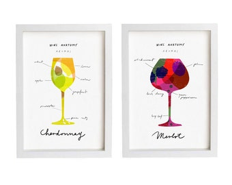 "Wine Anatomy 2 Print Set  8.3"" x 11.7"" - Merlot and Chardonnay - fine art giclee prints"