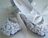 DELFT BLUE Bridal Shoes Flats Custom Made by Bobka Baby