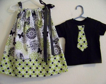 Lime Green and Black Butterfly Brother Sister Set