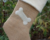 Burlap Christmas Stocking for Dogs- Burlap and Bone Custom Stocking
