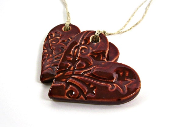 one ceramic heart ornament christmas ornament holiday ornament gift tag vampire red handmade stoneware pottery