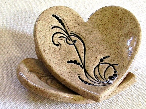 ceramic heart dish clay heart ring bowl ring bearer bowl wedding ring bowl black flourish Wheat handmade stoneware pottery