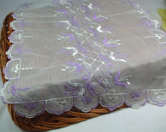 Nylon white and purple  Vintage Embroidered Table Scarf rectangle two piece set