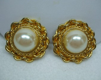 Vintage Huge Faux Pearl Center Goldtone Pierced Earrings 1""