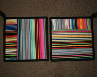 QUIRKY Patchwork POT HOLDERS - Pair - Choice of 3 designs to choose from