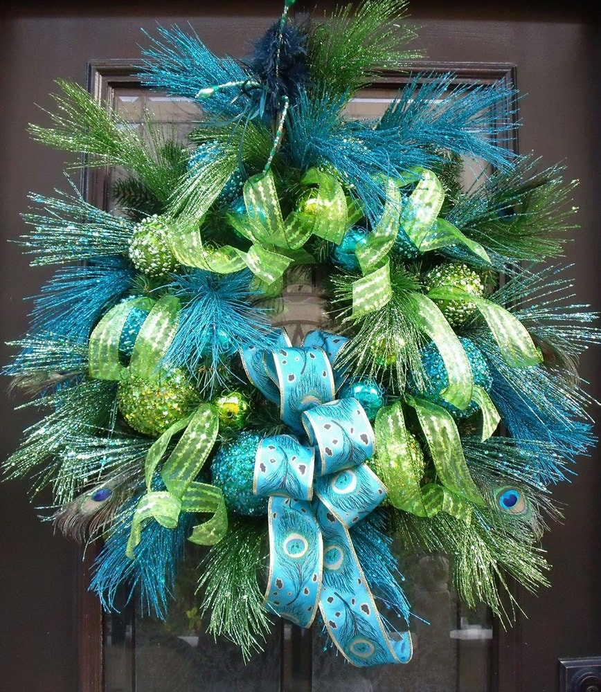 Peacock Christmas Wreath Lime and Turquoise Peacock Decor