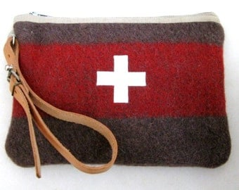 Swiss Army clutch - Wool bag-Unique-Taupe grey red Stripe -Swiss cross.Industrial  Retro Design-Great  gift