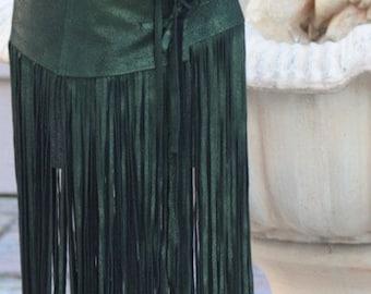 showdiva designs FLOOR Length Leather FRINGE Belt or Skirt RoCk n RoLL BoHo CowGirL CHIC