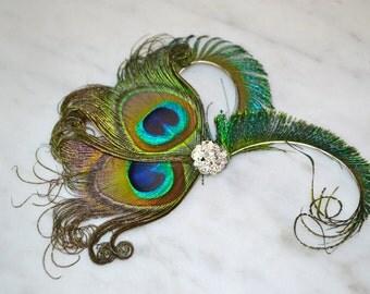 Peacock feather headpiece fascinator
