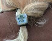 FLEUR DE LIS Artisan Ponytail Holder Hair elastic hair accessory rustic french