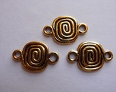 SALE!! Link, Antiqued Gold, Pewter, tin based alloy, 11x9mm, rectangle, with coil, Pkg Of 4 SALE!!
