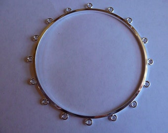 Bracelet Base, Bangle, Silver Plated, Brass, 63mm, with 16 loops, Sold individually
