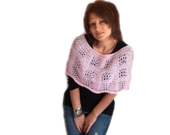 Hand Knitted Baby Pink Shoulders Warmer, Lacy Pink Shoulders Warmer,  Pink Women Accessory for Shoulders, Autumn Spring Lace Warmer