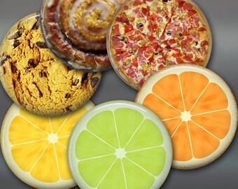 """3.5"""" food fridge magnets, set of 6 magnets, kitchen decor, large fridge magnet, pizza magnet set"""