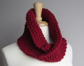 Ready to Ship - The Twist Cowl Scarf - Cranberry - WarmMeUp