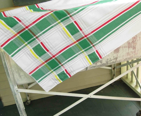 Vintage Plaid Tablecloth Simtex Red Yellow Green