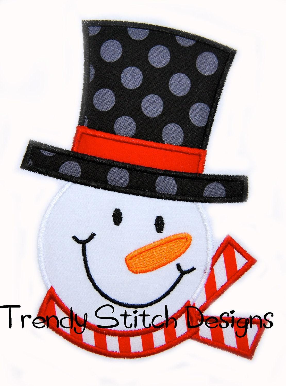 Frosty applique design machine embroidery snowman