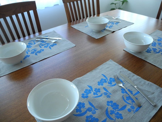 Screen Printed Linen Placemats (4)