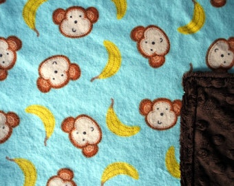 "Baby Blanket - Monkeys and Bananas on Aqua Flannel with Chocolate Brown Dimple Minky, 29"" X 35"""