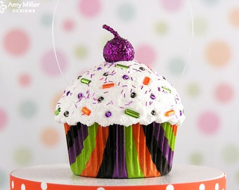 Multi Stripe Mini Fake Cupcake Decoration - Halloween #CUP182
