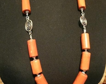 Pink Coral Large Necklace with Tibet Silver Connector and Charm