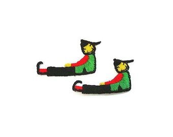 Chinese Applique, Asian Appliques, China, Red, Embroidered Applique, Embroidered, Green, Yellow, Patch, Lot of 10