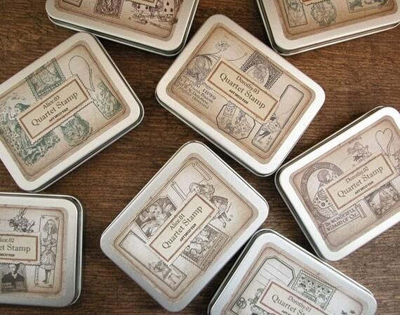 Korea Diy Wooden Rubber Quarter Stamp Set - Alice 01,02,03,04 - 4 styles to choose